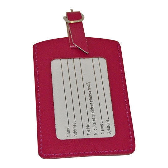 MC Travel Leather Luggage Tag: PLUM - Jetsettr.com.au - 1