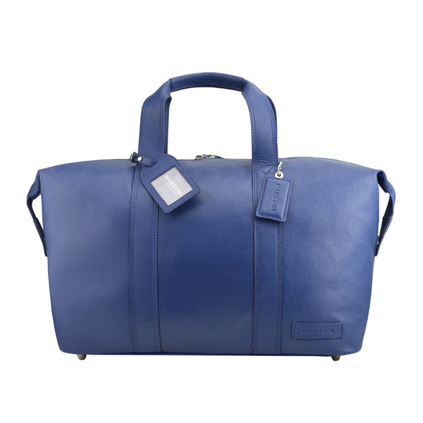 Manzoni Leather Overnighter Bag: Navy - Jetsettr.com.au - 1