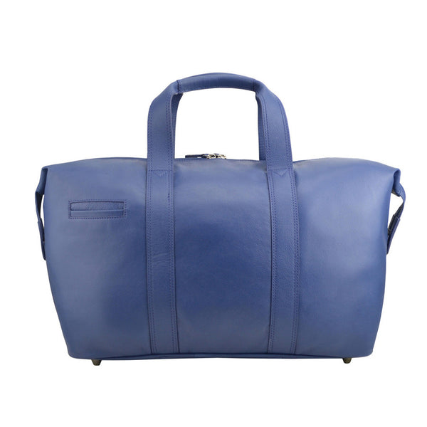 Manzoni Leather Overnighter Bag: Navy - Jetsettr.com.au - 4