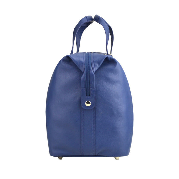 Manzoni Leather Overnighter Bag: Navy - Jetsettr.com.au - 3