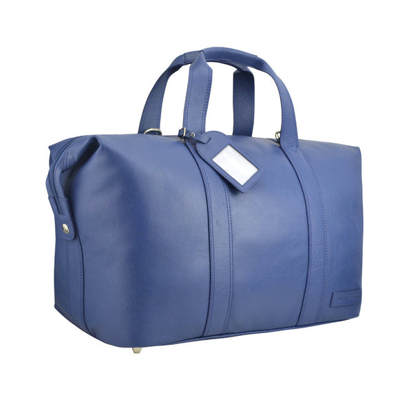 Manzoni Leather Overnighter Bag: Navy - Jetsettr.com.au - 2