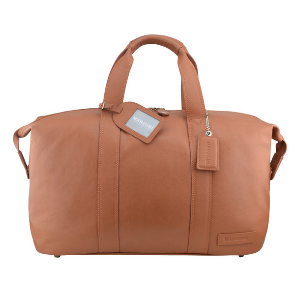 Manzoni Leather Overnighter Bag: Tan - Jetsettr.com.au - 1