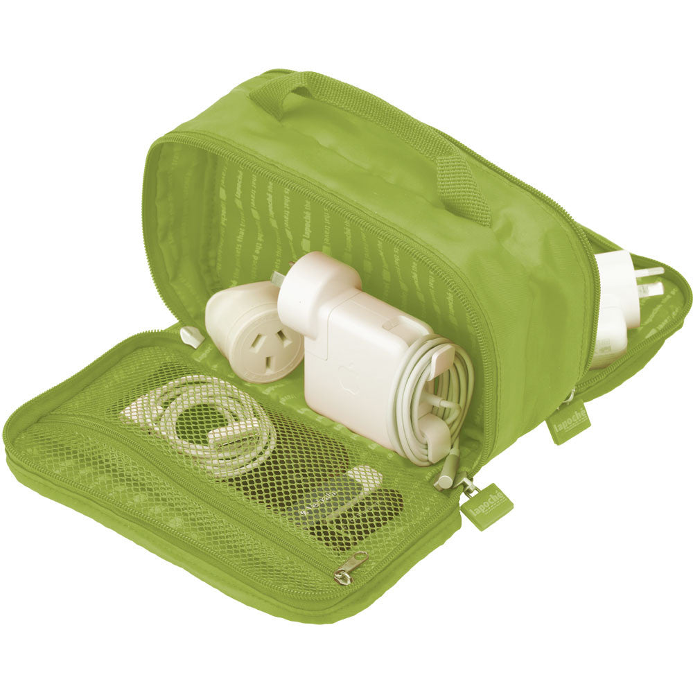 La Poche 'Charge Me Up' Charger & Adaptor Bag: Green - Jetsettr.com.au