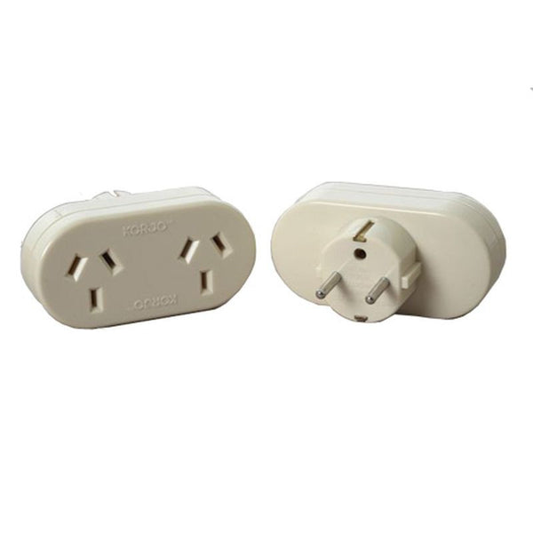 Korjo Double Travel Adaptor Australia > Europe - Jetsettr.com.au