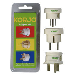 Korjo Travel Adaptor Set Australia > EU UK US - Jetsettr.com.au