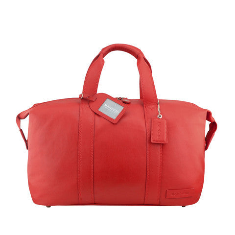 Manzoni Leather Overnighter Bag: Red - Jetsettr.com.au - 1