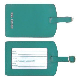 MC Travel Leather Luggage Tag: TURQUOISE - Jetsettr.com.au - 1