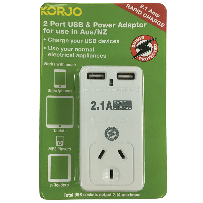 Korjo 2-Port USB & Power Adaptor: AUS/NZ - Jetsettr.com.au
