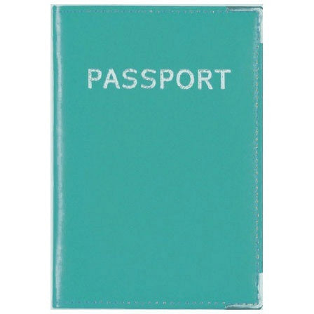 MC Travel LEATHER Passport Cover: Turquoise - Jetsettr.com.au