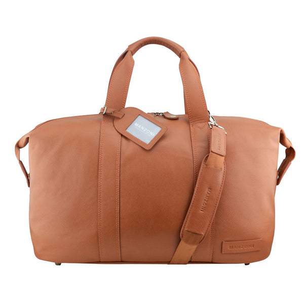 Manzoni Leather Overnighter Bag: Tan - Jetsettr.com.au - 2