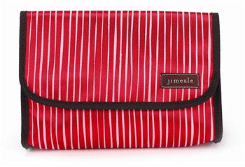 Jimeale New York 703 Toiletry Bag: Red & White Stripe - Jetsettr.com.au - 3