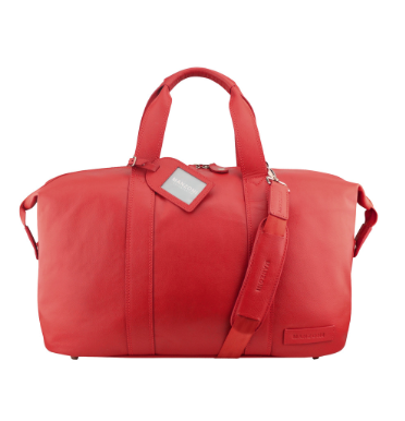 Manzoni Leather Overnighter Bag: Red - Jetsettr.com.au - 2