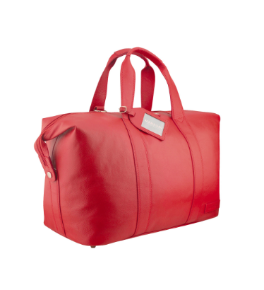 Manzoni Leather Overnighter Bag: Red - Jetsettr.com.au - 3