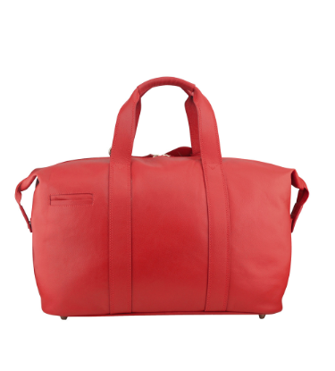 Manzoni Leather Overnighter Bag: Red - Jetsettr.com.au - 7
