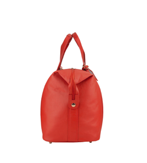 Manzoni Leather Overnighter Bag: Red - Jetsettr.com.au - 5