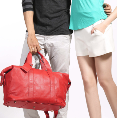 Manzoni Leather Overnighter Bag: Red - Jetsettr.com.au - 6