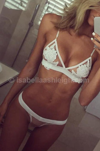 Isabella Ashleigh Amore Lace Bralette & G-string in White