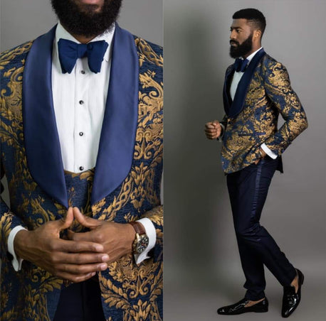 Blue & Gold Jacquard Double Breasted Tuxedo