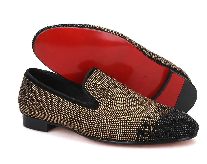 Gold & Black Caviar Slippers