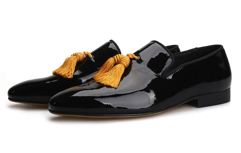 Black Patent Leather With Gold Tassels