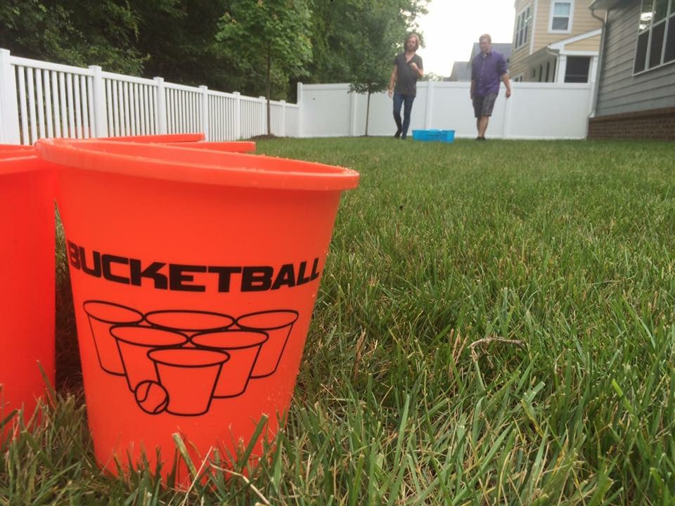 Bucket Yard Pong in the Backyard