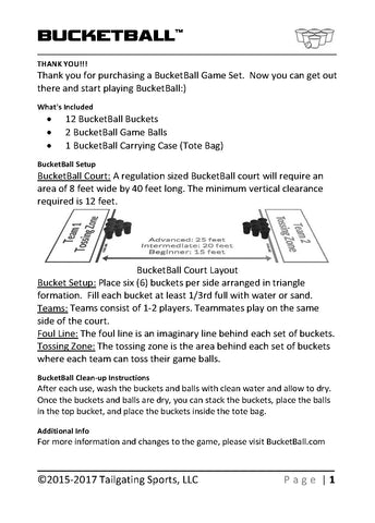 BucketBall Quick Start How to Play Instructions Page 1
