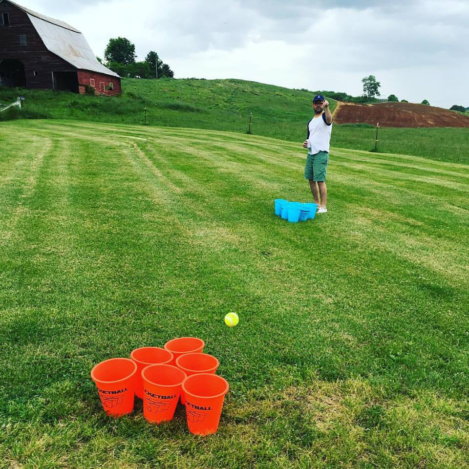 Kids Beer Pong on the farm