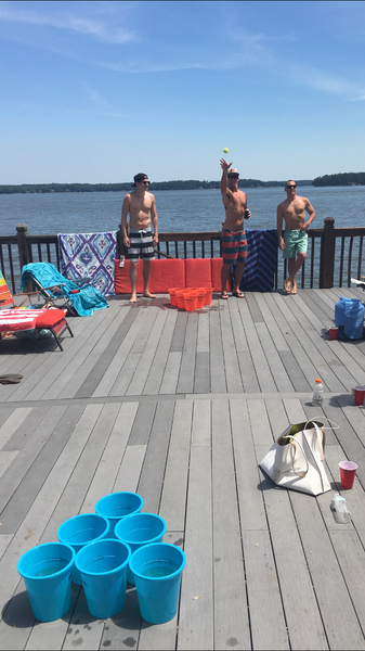 Yard Pong Game on the Deck