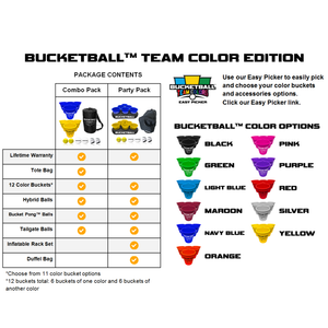BucketBall - Team Color Edition - Party Pack (Light Blue/Navy Blue) - BucketBall