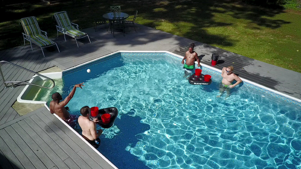 Yard Pong Game in the Pool