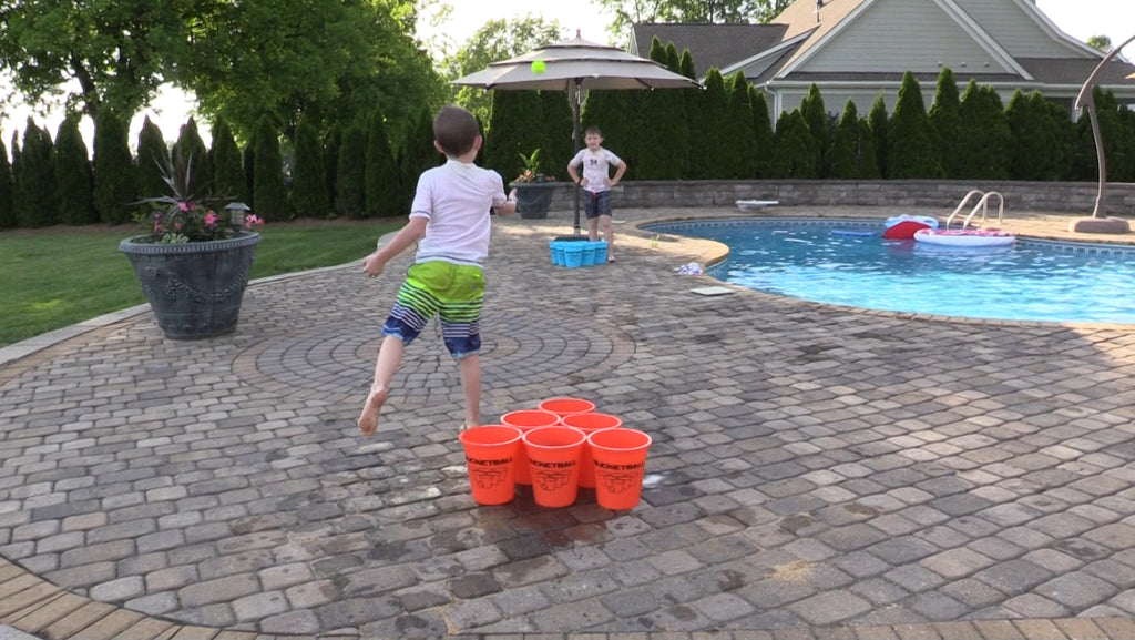 Bucket Pool Toss by the Pool