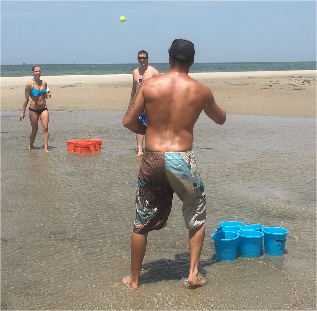 Playing Jumbo Pong on the Beach