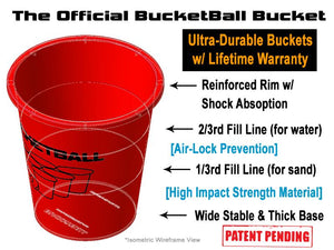 The Official BucketBall Bucket Features Red