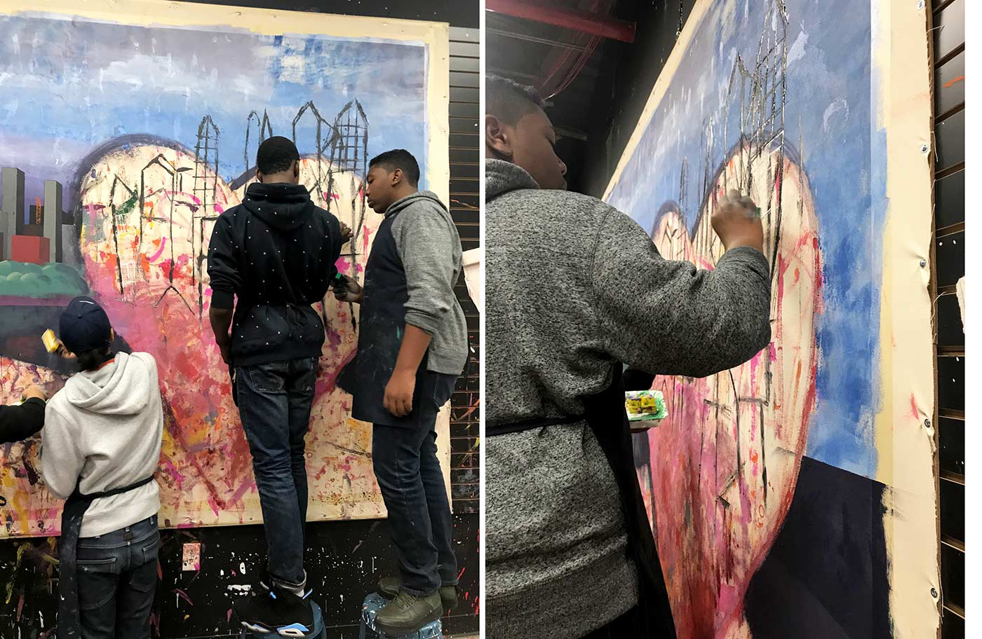 collaborative painting with teens
