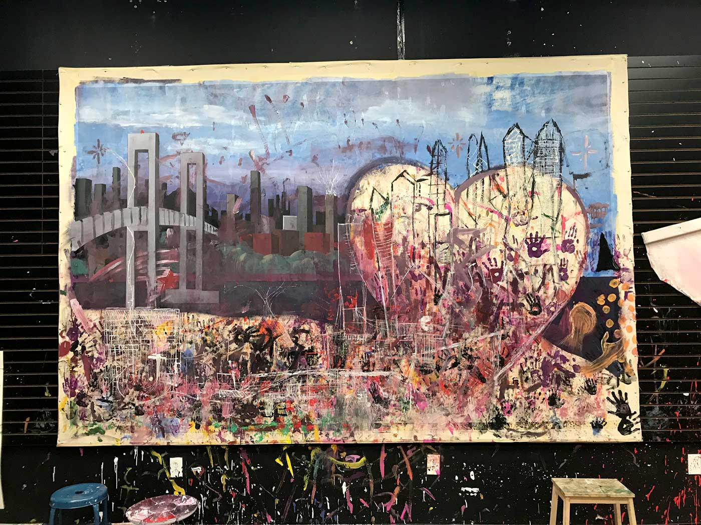 city painting, collaborative art, kids art
