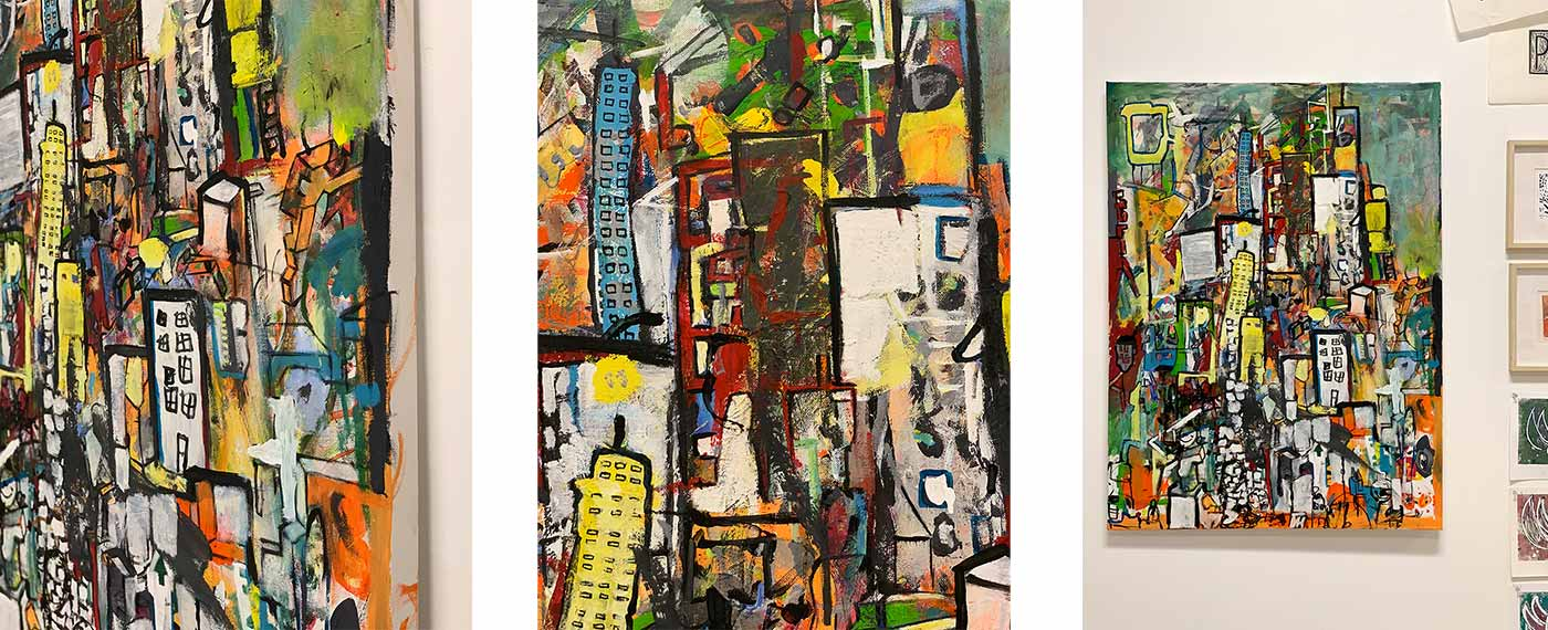 cityscape collaborative painting at Little Pulp