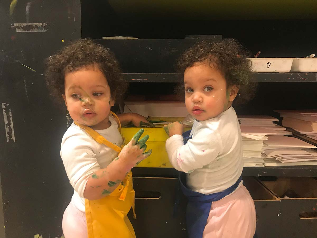 process art, twins creating, sensory, kids painting studio