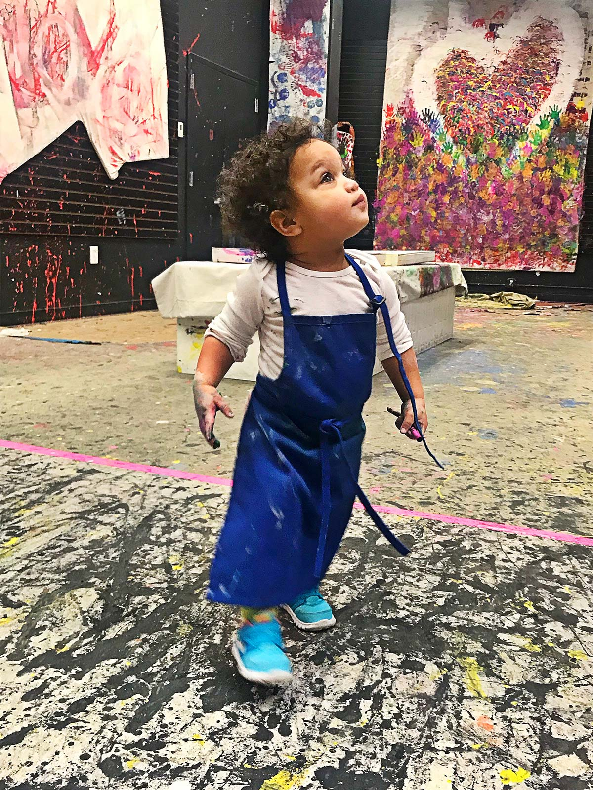 sensory art studio, kids painting