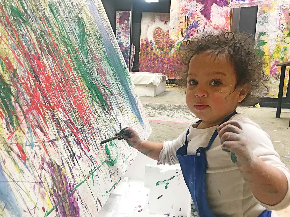sensory art, toddler painting, kids art space