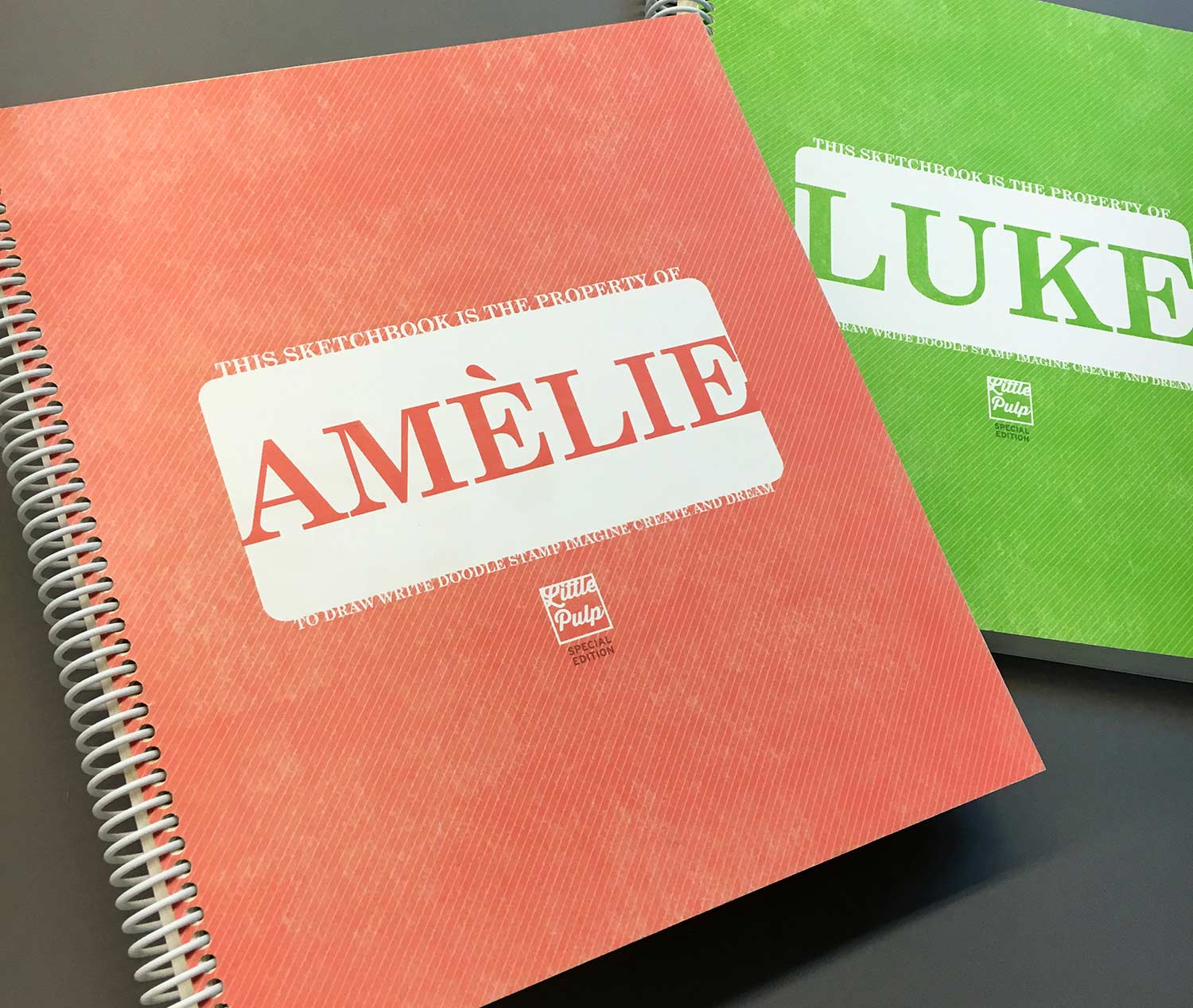 Extra-Large Personalized Sketchbook in Coral