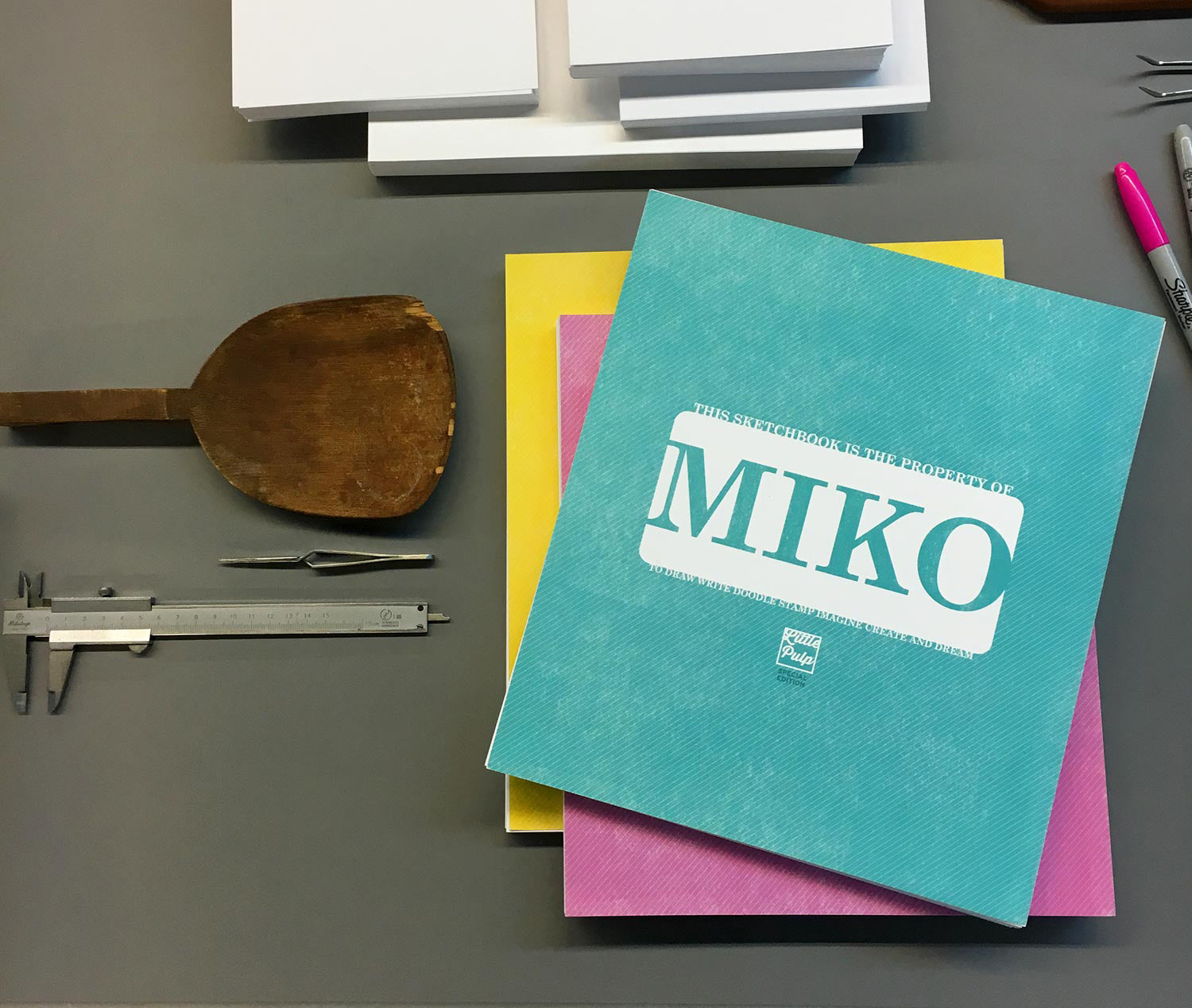 Extra-Large Personalized Sketchbook in Turquoise