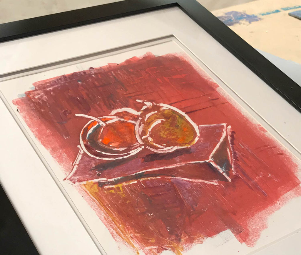 "Framed ""Still Life"" monoprint"