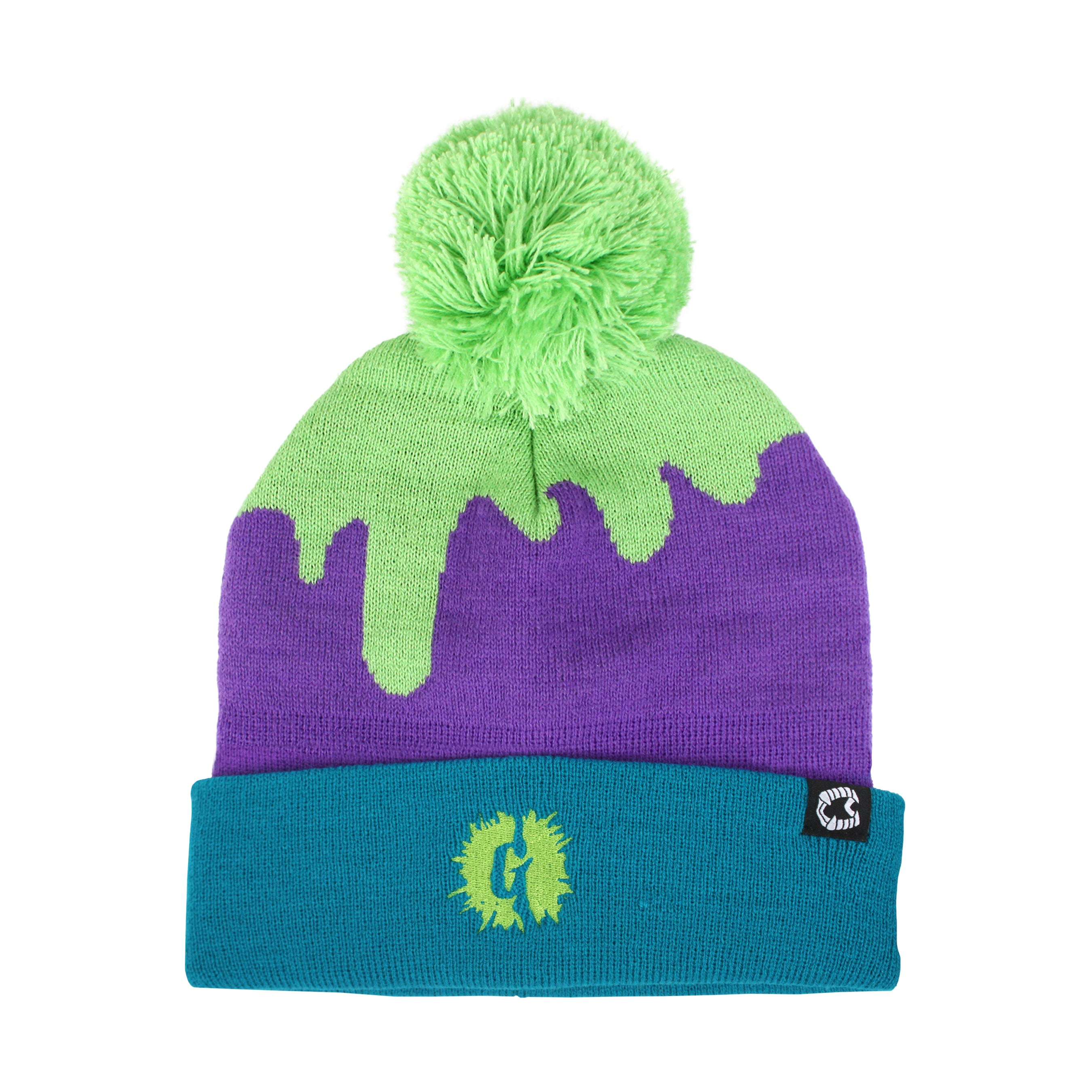 Goosebumps® Slime Stripe Purple Pom Beanie
