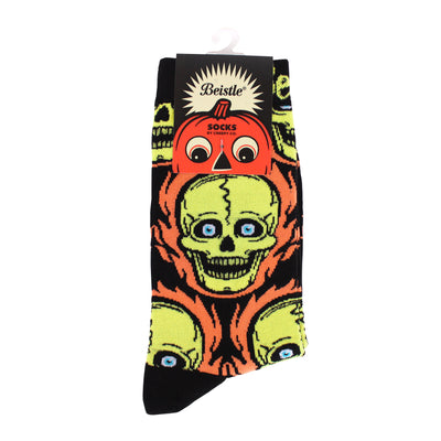 Beistle® Flaming Skull Socks - Yellow Variant