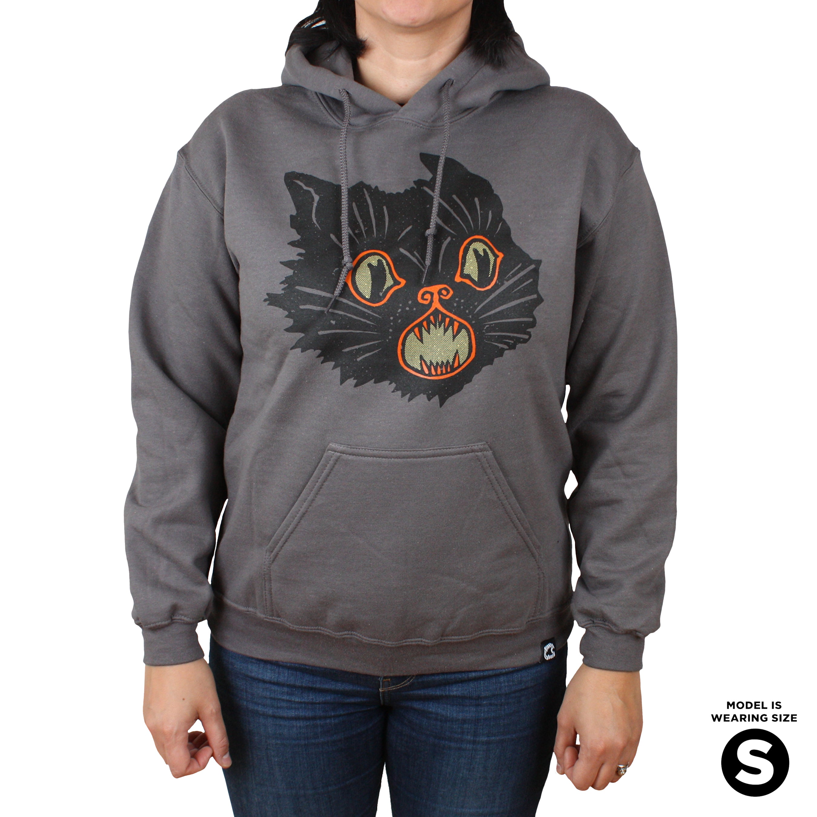 Beistle Gray Scratch Cat Pullover Hoodie