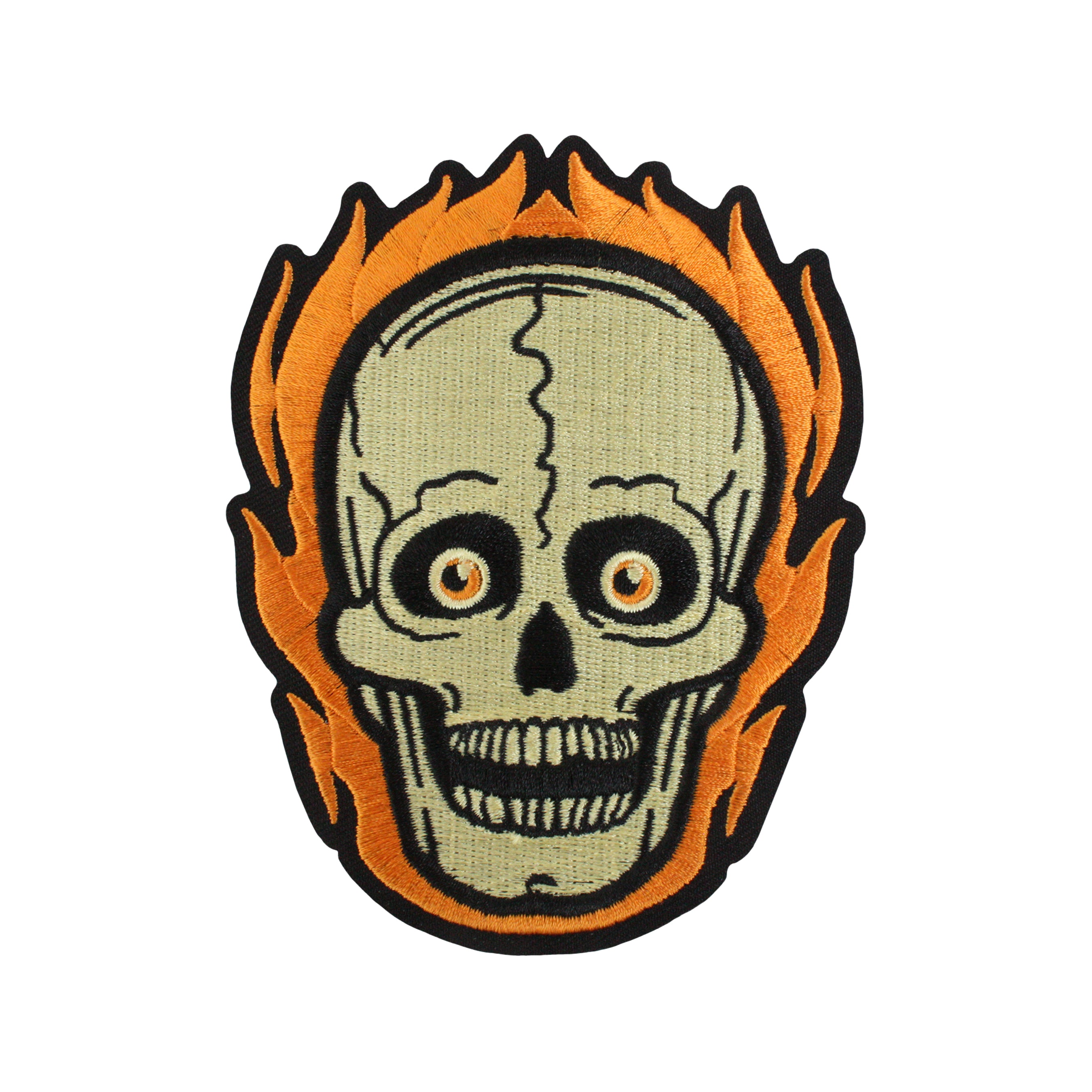 Beistle® Flaming Skull Embroidered Patch