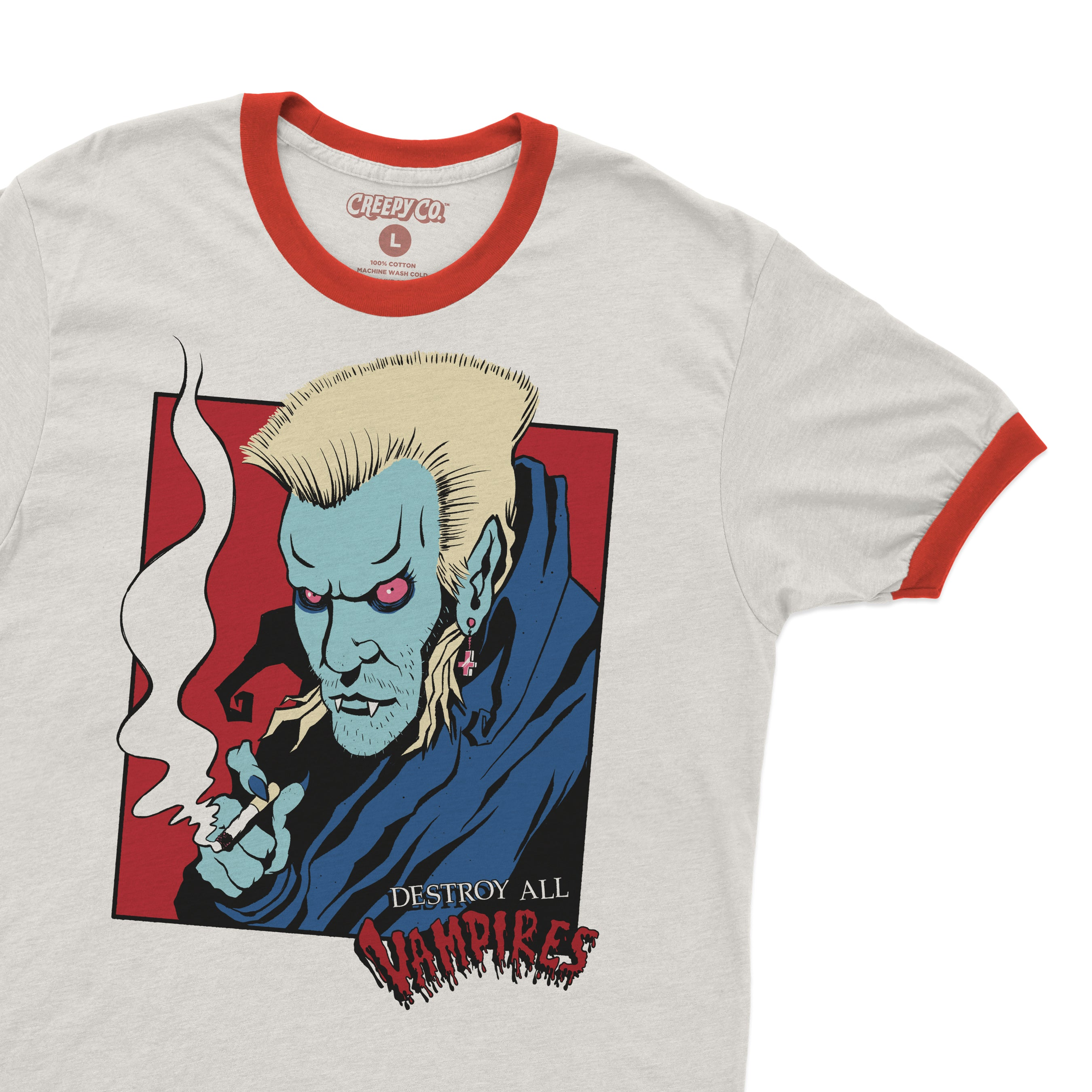 Destroy All Vampires White Ringer Tee