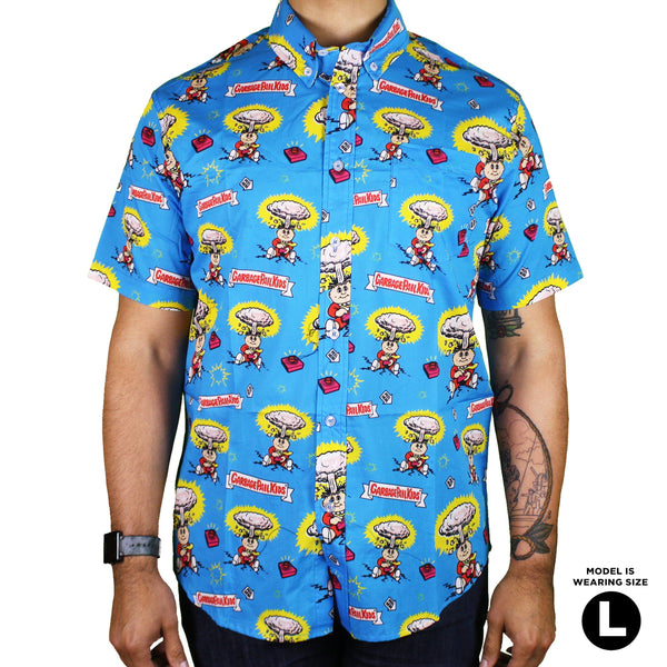 Garbage Pail Kids 174 Adam Bomb Button Up Shirt Creepy Co