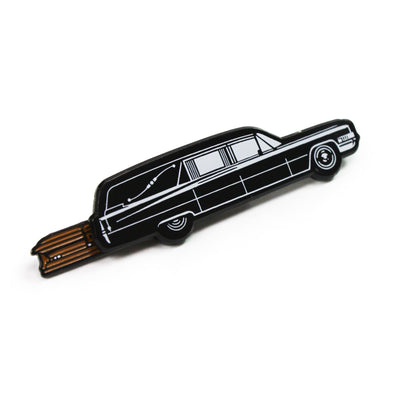 Hearse with Casket Enamel Pin