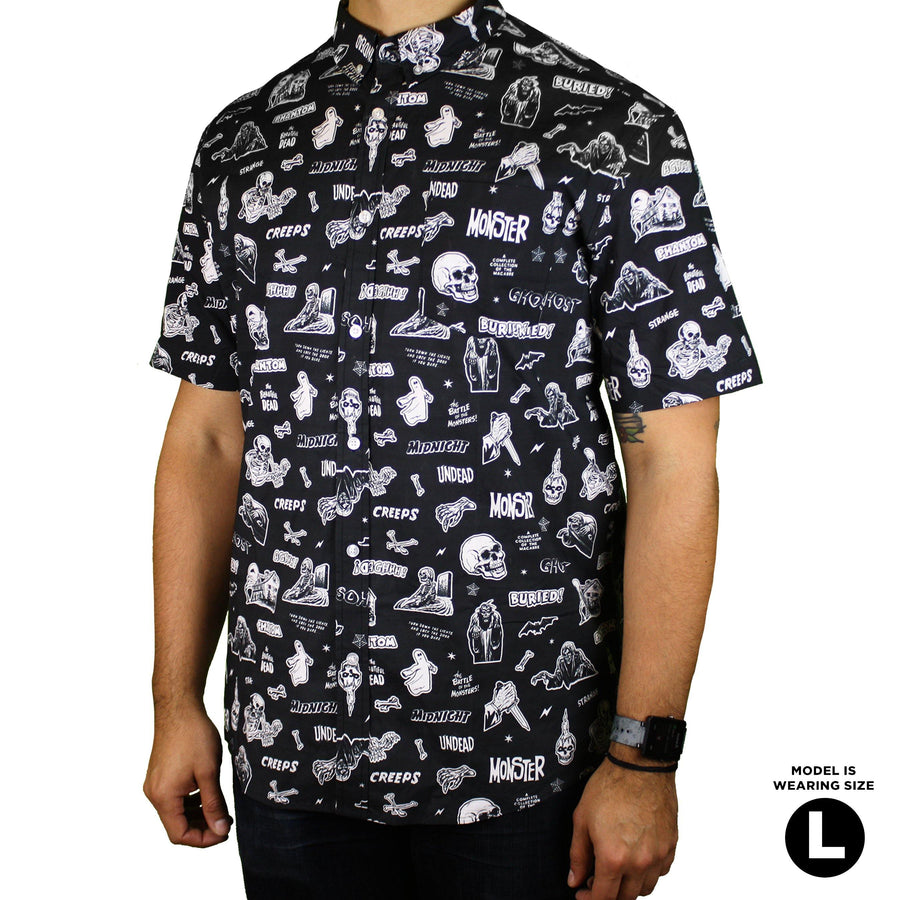 Vintage Horror Comix Button-Up Shirt